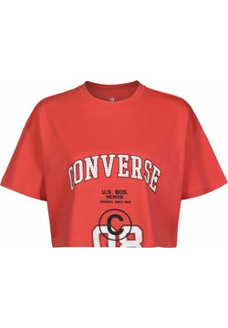 Converse - BOXY W - T-Shirt print - red/beige