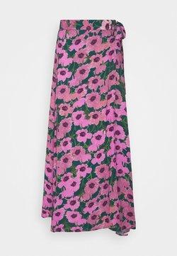 Fabienne Chapot - BOBO SKIRT - Wrap skirt - bottle green/fuchsia