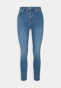 NA-KD - HIGH WAIST RAW HEM - Jeans Skinny Fit - mid blue