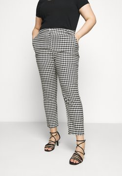 CAPSULE by Simply Be - HOUNDSTOOTH TAPERED TROUSERS - Pantalon classique - black/white
