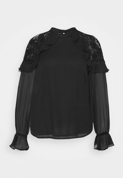 Simply Be - BARBIE SLEEVE INSERT WITH FRILL - Bluse - black