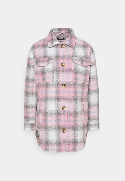 Missguided - OVERSIZED CHECK SHACKET - Leichte Jacke - pink