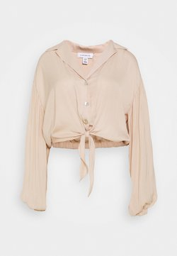Topshop - TIE FRONT - Bluse - champagne