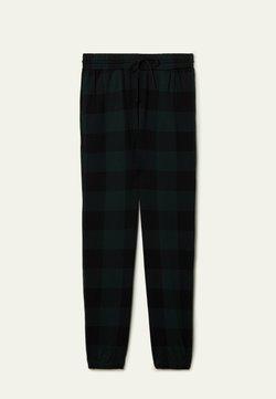Tezenis - Jogginghose - schwarz - black/pine green tartan check