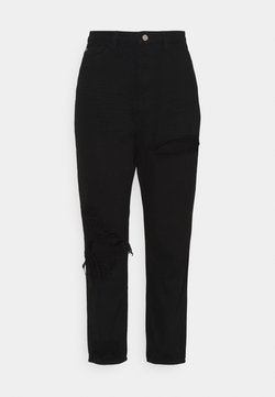 Missguided Plus - PLUS RIOT THIGH OPEN KNEE SLASH MOM - Jeans baggy - black
