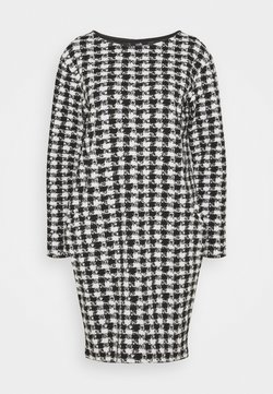 Wallis - DOGTOOTH DRESS - Strickkleid - black