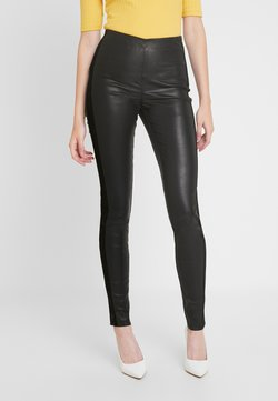 YAS Tall - YASZEBA PANEL STRETCH PANT - Leather trousers - black