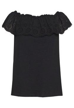 Dorothy Perkins - BROIDERY TIER BARDOT - T-Shirt print - black