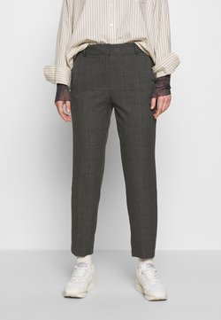 Selected Femme - SLFRIA CROPPED PANT CHECK - Stoffhose - maritime blue
