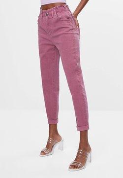 Bershka - MIT ELASTISCHEM BUND  - Straight leg -farkut - pink