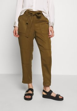Banana Republic - UTILITY STRAIGHT TIE WAIST PANT SOLIDS - Trousers - cindered olive