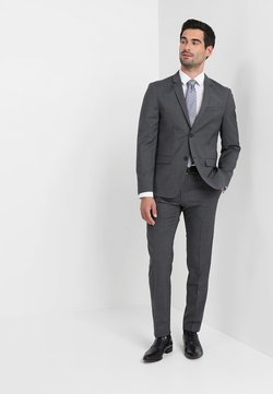 Calvin Klein Tailored - WOOL NATURAL STRETCH FITTED SUIT - Puku - asphalt