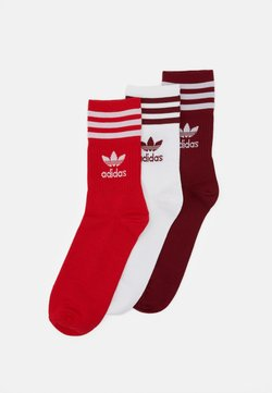 adidas Originals - MID CUT UNISEX 3 PACK - Socken - white/red/bordeaux