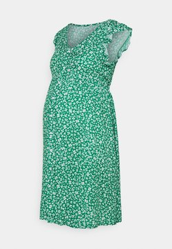 JoJo Maman Bébé - DITSY FRILL SLEEVE DRESS - Freizeitkleid - green