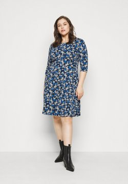 Dorothy Perkins Curve - CURVE LONG SLEEVE DITSY PRINT FIT AND FLARE  - Freizeitkleid - navy