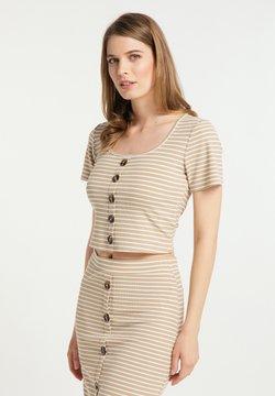 usha - T-Shirt print - beige weiss gestreift