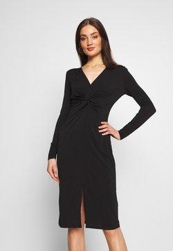 Lost Ink - KNOT FRONT LONG SLEEVE BODYCON DRESS - Vestido de tubo - black