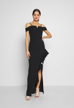 WAL G. - SIDE RUFFLE DETIAL MAXI DRESS - Abito da sera - black/white