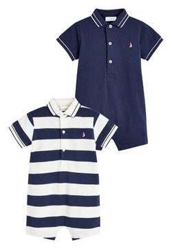 Next - 2 PACK STRIPE POLO ROMPERS - Jumpsuit - blue
