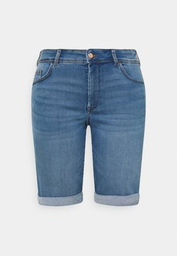 MY TRUE ME TOM TAILOR - WITH TURN UP - Jeans Shorts - clean raw blue denim