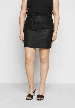 Missguided Plus - COATED PAPERBAG WAIST SKIRT - Minirock - black