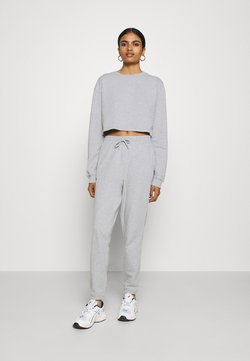 Even&Odd - SWEAT SET CROPPED SWEATSHIRT & LOOSE JOGGER - Sweatshirt - mottled light grey