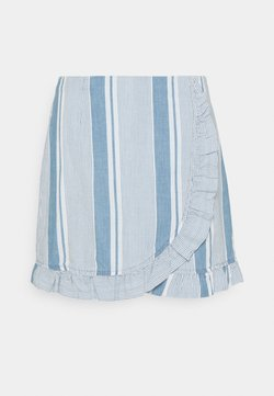 Vero Moda - VMAKELA FLOUNCE - Minirock - light blue denim/white