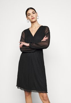 Dorothy Perkins Tall - TALL WRAP DOBBY DRESS - Freizeitkleid - black