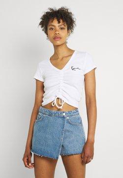 Karl Kani - CHEST SIGNATURE CROP GATHERED TEE - T-Shirt print - white