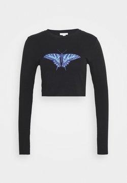Topshop - BUTTERFLY CROP - T-shirt à manches longues - black