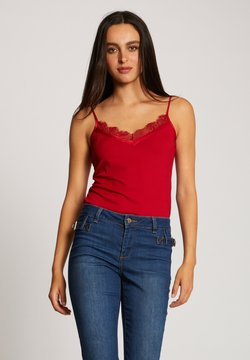 Morgan - VEST TOP WITH THIN STRAPS AND LACE - Top - red