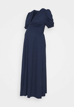 Glamorous Bloom - TWIST FRONT MIDI DRESS WITH SHORT SLEEVES AND LOW V-NECK - Vestido ligero - navy