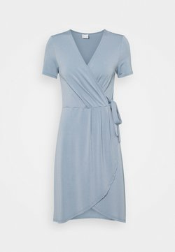 VILA PETITE - VINAYELI KNEE WRAP DRESS - Jerseyklänning - ashley blue