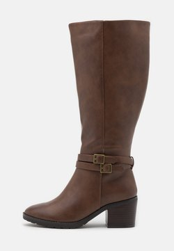 Evans - WIDE FIT HEELED LONG BOOT - Stiefel - brown