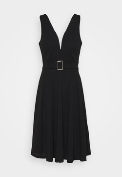 WAL G. - AITANA BELTTED MIDI DRESS - Trikoomekko - black