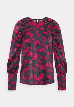 Who What Wear - GATHERED RAGLAN - Langarmshirt - black/pink