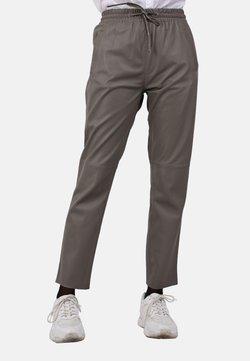Oakwood - GIFT - Pantalon en cuir - gray taupe