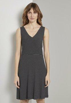 TOM TAILOR - Jerseykleid - black thin stripes