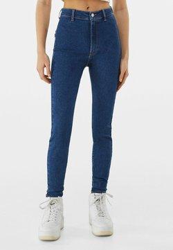 Bershka - SUPER HIGH WAIST - Jeansy Slim Fit - dark blue