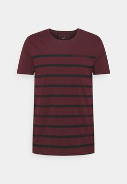 TOM TAILOR DENIM - STRIPE - T-Shirt print - deep burgundy red