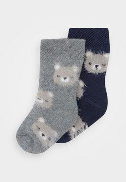 Ewers - BABY SOCKS TERRY BEAR 2 PACK - Socks - tinte/grau melange