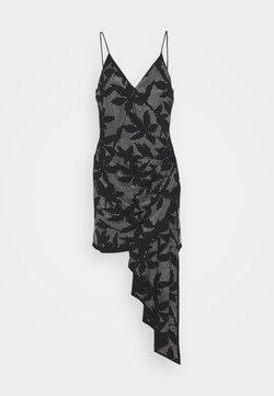 David Koma - FLOWER HOTFIX CRYSTAL EMBROIDERY ASSYMETRIC CAMI DRESS - Cocktailkleid/festliches Kleid - black/silver