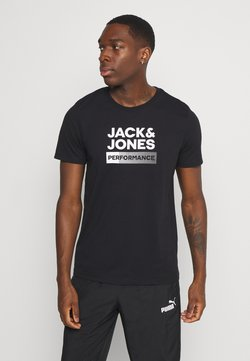 Jack & Jones Performance - JCOZ SPORT LOGO TEE - Printtipaita - black