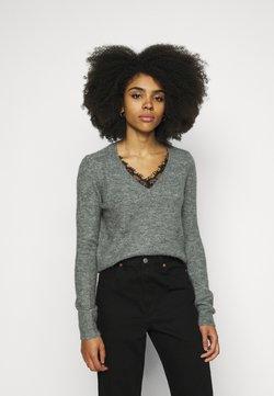 Vero Moda Petite - VMIVA VNECK  - Pullover - medium grey melange