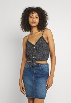American Eagle - TIE FRONT TANK PRINT - Top - washed black