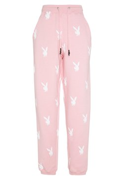 Missguided - PLAYBOY JOGGERS - Jogginghose - pink/white