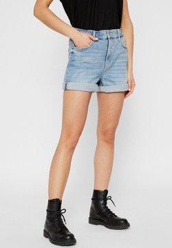 Pieces - MOM HIGH WAIST - Denim shorts - light blue denim