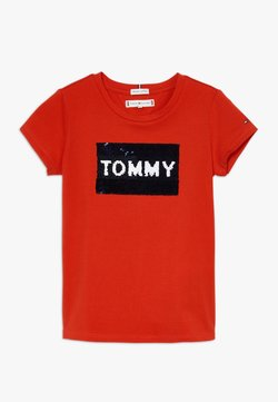 Tommy Hilfiger - FLAG FLIP SEQUINS TEE - T-Shirt print - red