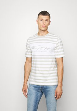 Tommy Hilfiger - SIGNATURE STRIPE RELAXED FIT TEE - T-shirt con stampa - white