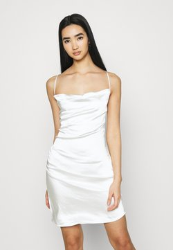 NA-KD - WATERFALL DRAPED MINI DRESS - Cocktailkleid/festliches Kleid - white
